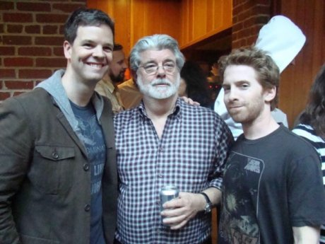 Seth Green & George Lucas plus writer Kevin Shinick who doesn't have a quote with Seth Green & George Lucas today. Maybe next time.